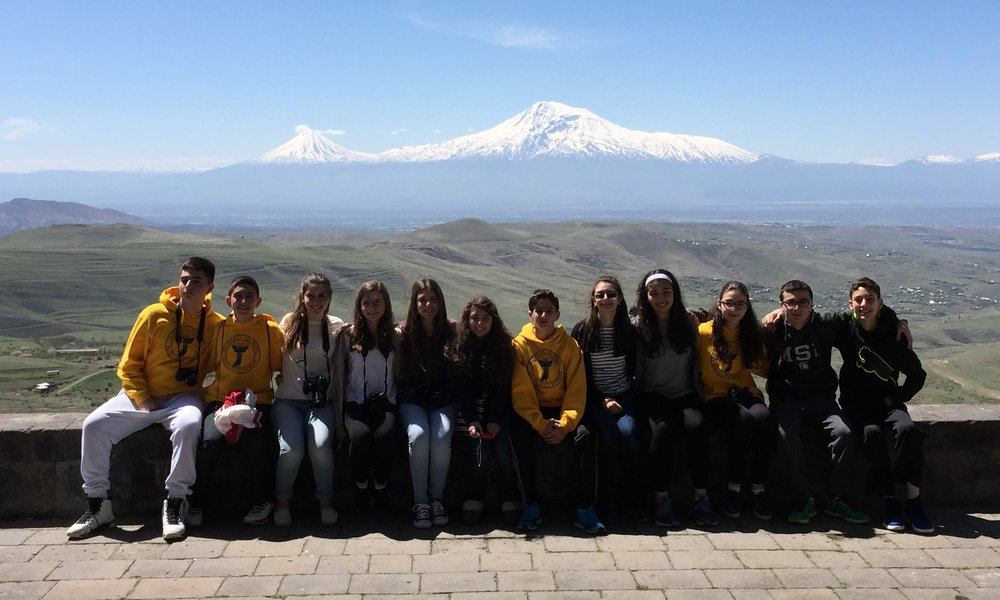 Hovnanian School students gather in front of Mount Ararat.