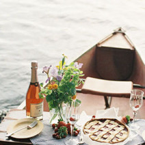 This canoe picnic engagement shoot on  Green Wedding Shoes .