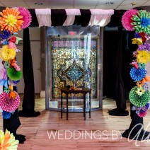 Paper flower chuppah @ Children's Museum of Pittsburgh. Photography by Weddings by Alisa.