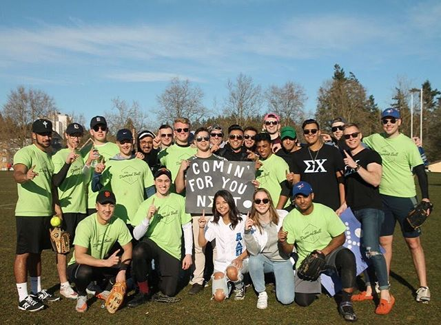 #FlashbackFriday to Diamond Ball this past weekend! We are excited to have came in 1st place this year and would like to thank our friends at @adpi_ubc for hosting us ⚾️ // #sigmafriends
