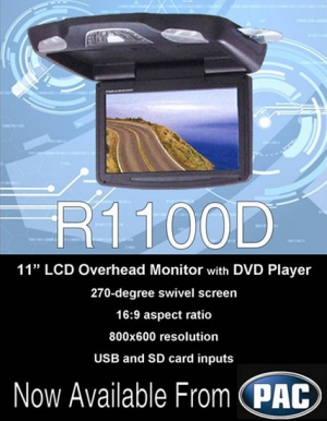 "R1100D 11"" LCD Overhead Monitor with DVD Player now available from PAC"