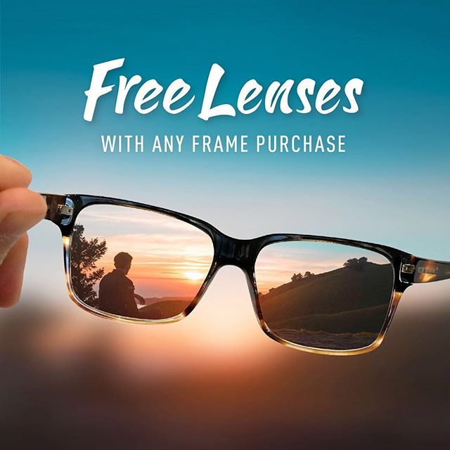 Free basic prescription lenses with any frame purchase!! Come see us today! 🤓😎