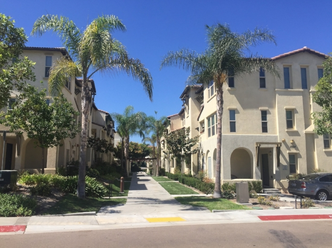 Smooth sidewalks and wheelchair access make going for a walk at The Landings much easier.