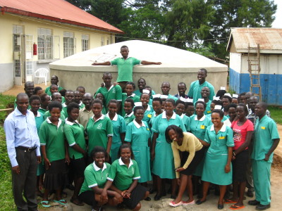 Members of the school community with one of their new tanks