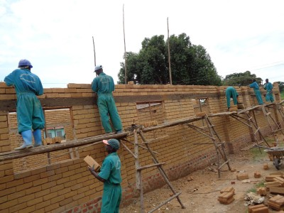 Brick by Brick Masons Construct Classroom at Nakasoga Primary School