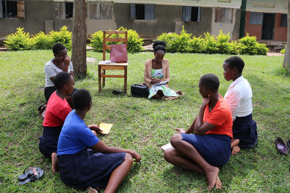Geraldine meeting with young women in our My Pads/DREAMS Program