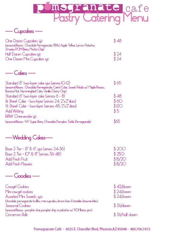pomegranate cafe pastry catering menu