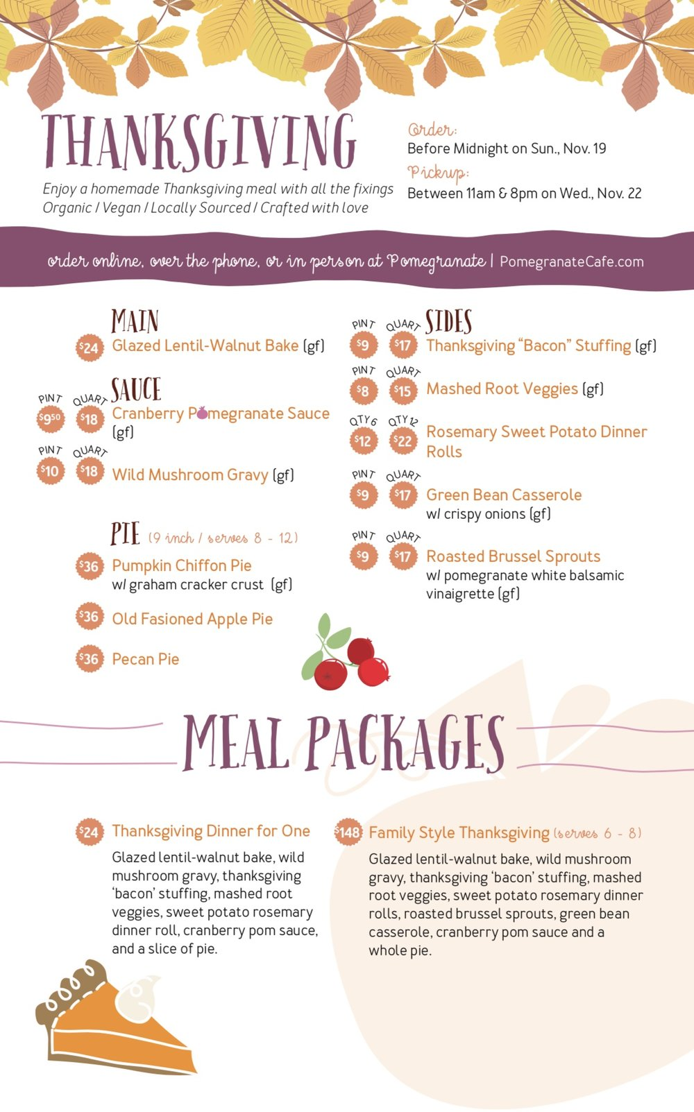 pomegranate cafe thanksgiving day menu
