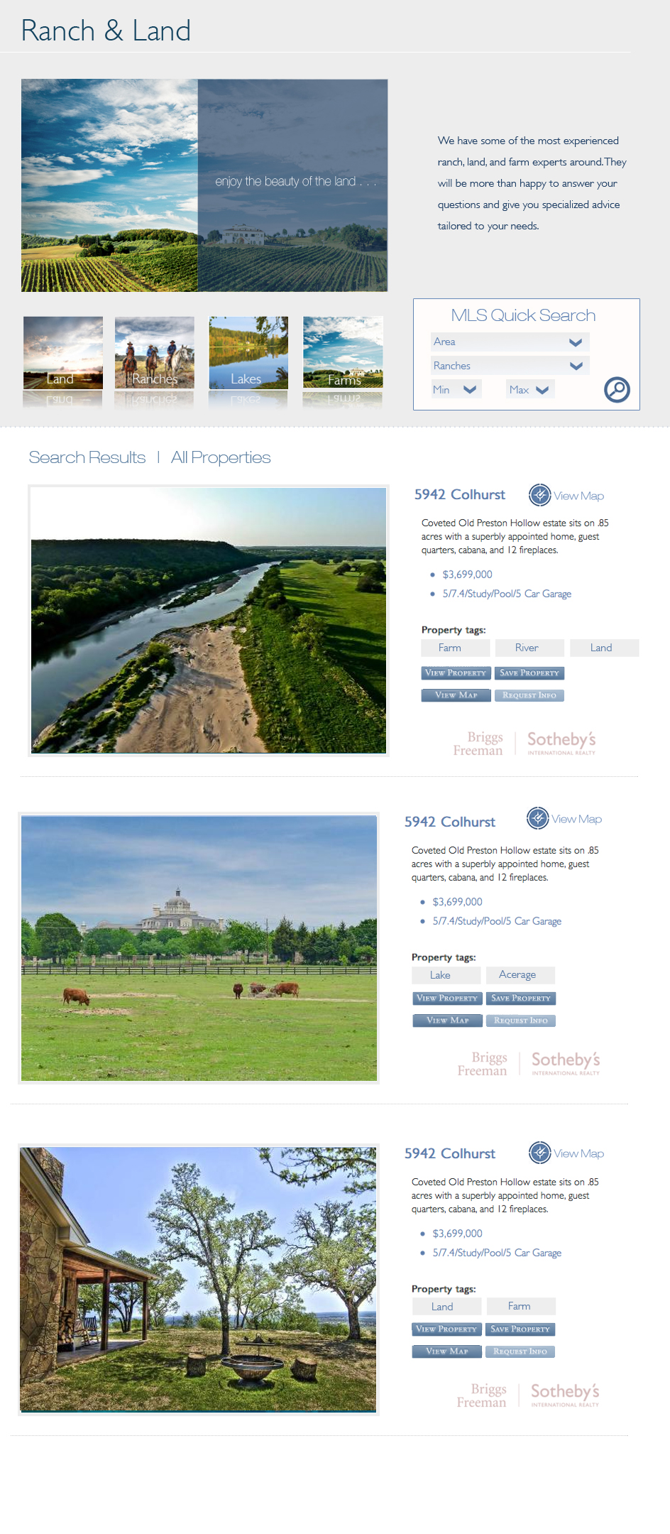 Ranch and Land Website Design