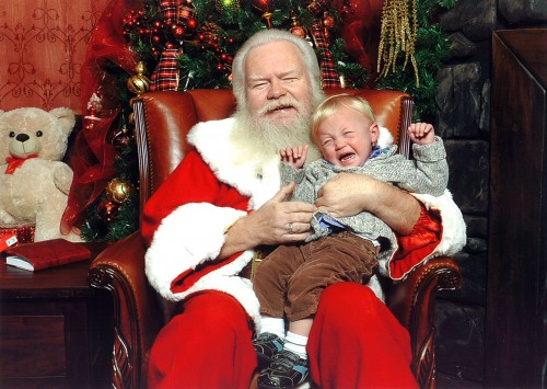 Jude Takes His Picture With Santa Claus at North Park