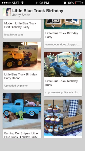 pinterest board for little blue truck party