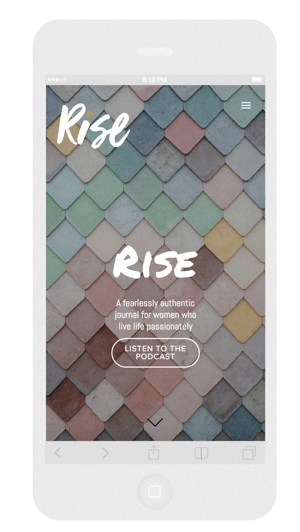 LIVE: RISE - A FEARLESS / AUTHENTIC JOURNAL AND PODCAST FOR WOMEN Website Design