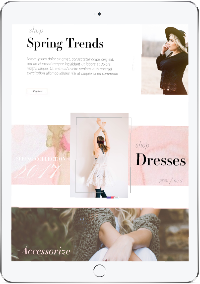 The golden hour is a feminine, modern, romantic online boutique designed for Wordpress with mobile first strategy. I used lots of luxury watercolor textures to give the entire shop an organic, handmade feel.