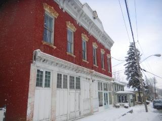 Snowy street with Klinkhart Hall