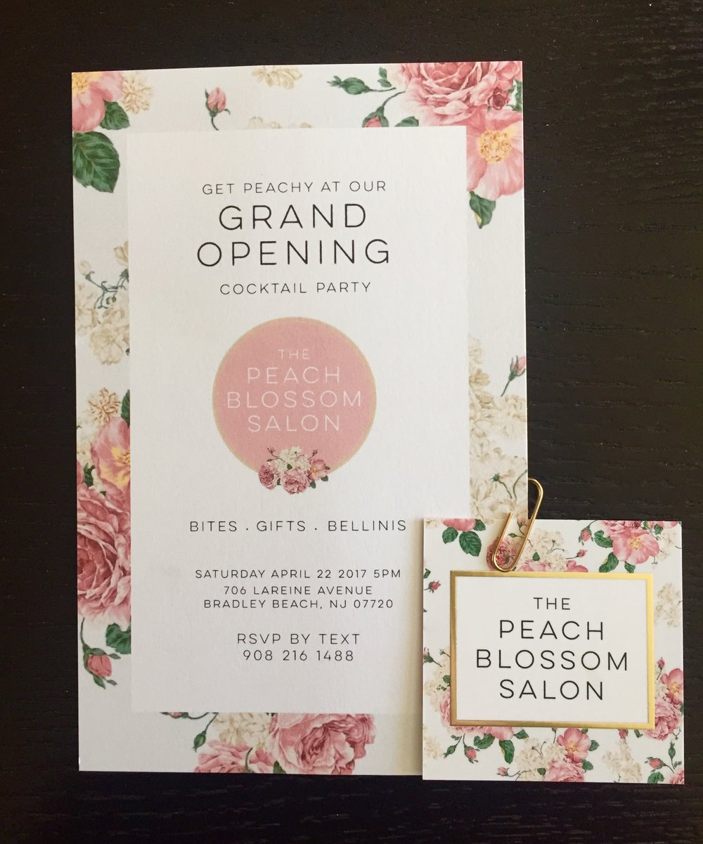 Grand opening invitation and business card
