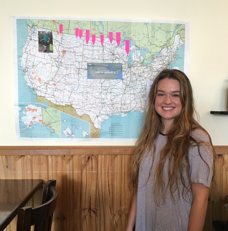 The owner, Sandy, has a map on display and has been following my ride.  She serves great quiches and breakfast burritos and the best coffee in town!  Pictured here is my younger daughter, Carly, who works there.