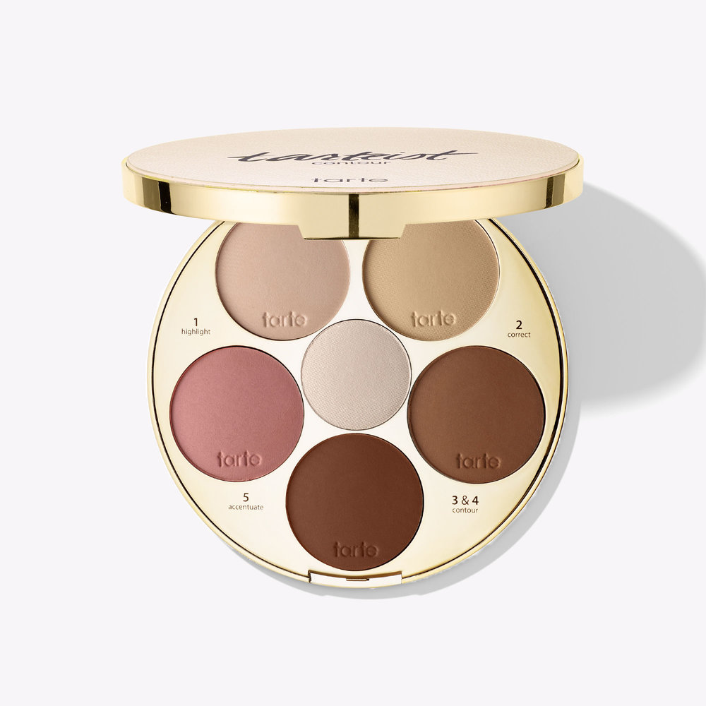 limited-edition tarteist™ contour palette  This is great for contour on the go!  1. highlight (matte highlighter) 2. correct (yellow correcting powder) 3. contour  – soft (for light-to-medium skin tones) 4. contour – deep (for medium-to-dark skin tones) 5. accentuate (rosy blush) 6. glow (shimmer highlighter)
