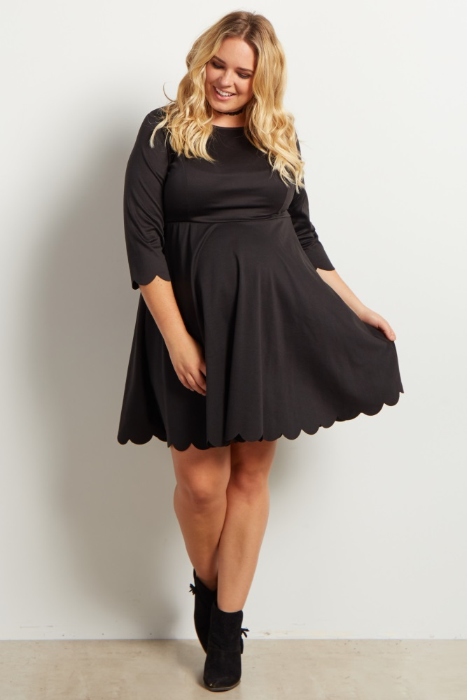 Black Solid Scalloped Hemline Maternity Plus Dress  $55 - PinkBlush  A solid plus maternity dress. Scalloped hemline. Rounded neckline. 3/4 sleeve.