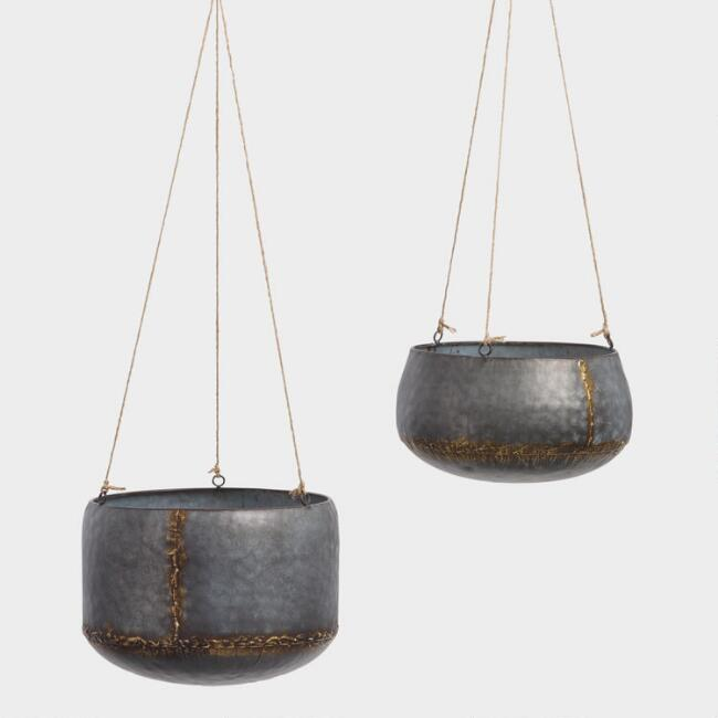 Antique Galvanized Metal Hanging Planter.jpg