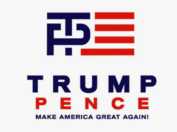 Released July 15, 2016. Withdrawn around 24 hours later. Article: Trump-Pence unveils modified logo