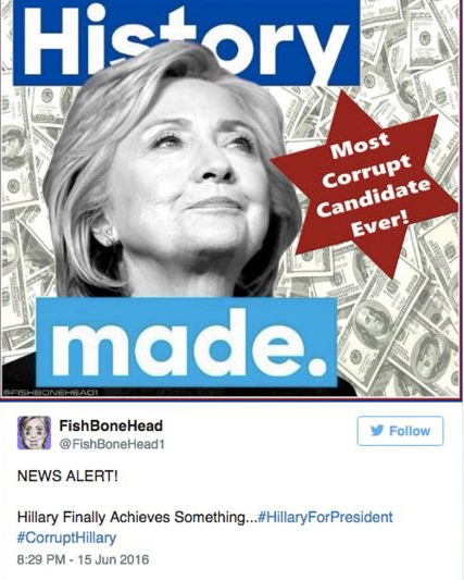 The original tweet from the source of the image on June 15, 2016. FishBoneHead tweeted many images with racist and anti-Semitic overtones. Article: Donald Trump's 'Star of David' tweet: a recap