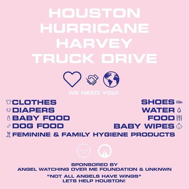 Good morning Miami! Today is the day that we all come together to support Houston. Please meet me at the Aventura Mall 10am-6pm to either donate, volunteer, or simply show moral support. They are asking please no more clothing! All of this is going directly to @thehivesociety check out what they are doing for their city, it's pretty incredible. So please, call your cousins, friends, and neighbors to come out. We will be parked right across from the JCPenny parking lot next to the Citi Bank. Thank you from my friends @unknwnmiami for making this happen, and to the @aventuramall for the quick turn around. Let's help houston! #angelwatchingoverhouston
