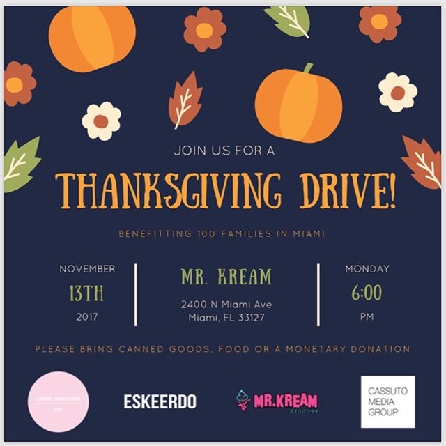 Hope to see you all this Monday at Mr. Kreme //6:00pm. Let's share this holiday spirit by giving back. @angelwatchingoverme will be making 100 baskets for 100 families who do not have anything to eat this Thanksgiving. Come by, bring canned food items from the list —  or monetary donation. #angelwatchingoverme