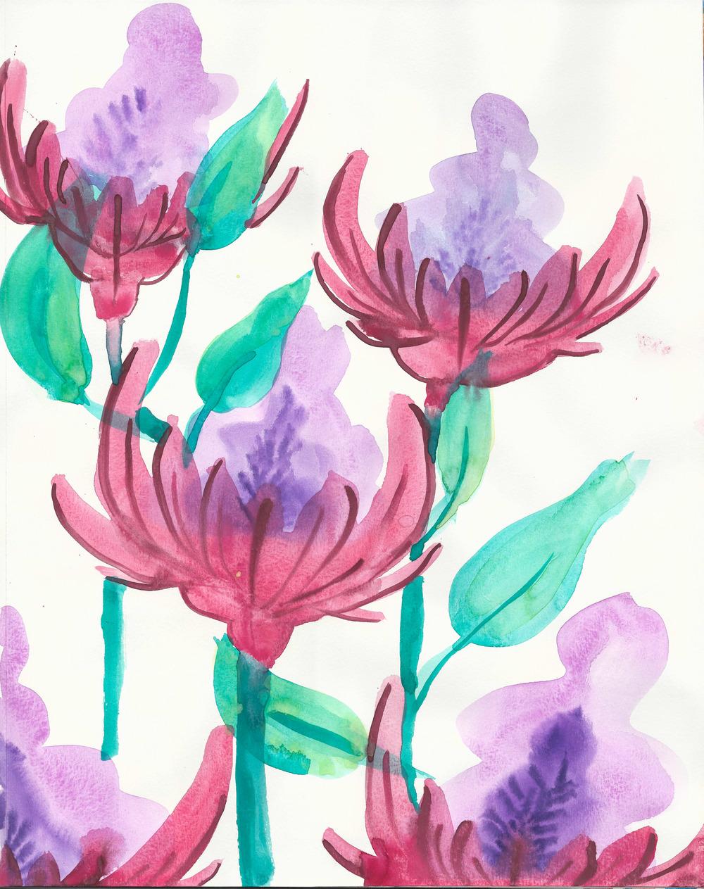 watercolor jungle flowers 11x14 paper.jpg