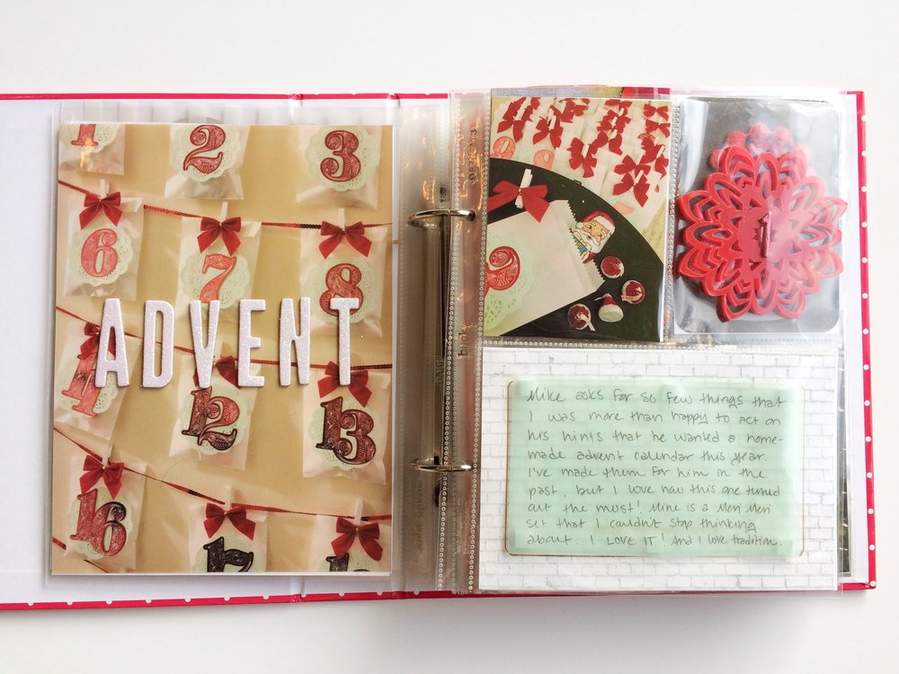 My first story was about the advent calendars my boyfriend and I made for each other at the very end of November. This story continues onto the back as well.