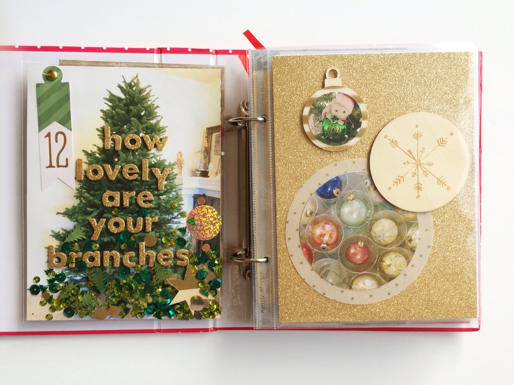 Day 12 is all about decorating the Christmas tree!  I had a few different visions for this set of pages and what I hoped to do. I knew I wanted to include multiple photos by cutting them down into circles, and I knew I wanted it to have a lot of sparkle and confetti, but what I had in mind was a little different from this version. I really enjoy how it turned out though, especially the quote on top of the tree and all the chunky glitter and loose embellishments.