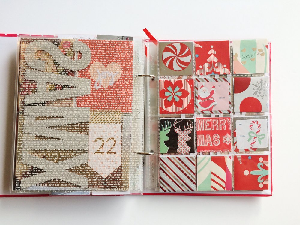And so begins the Christmas festivities! I used a 2x2 page to include little snippets of my favorite gift wrap from this year.