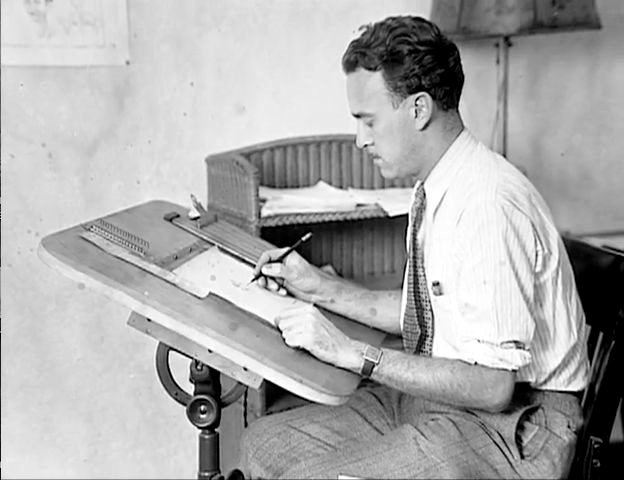 Ub Iwerks at his drawing board