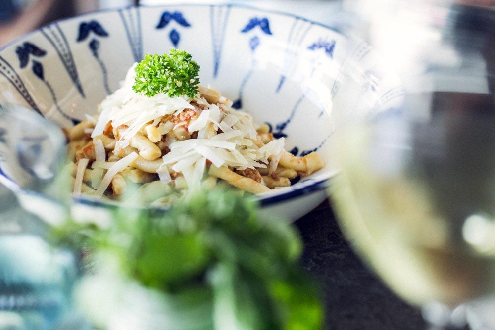 garganelli pasta with pomodorino & ricotta salata sauce