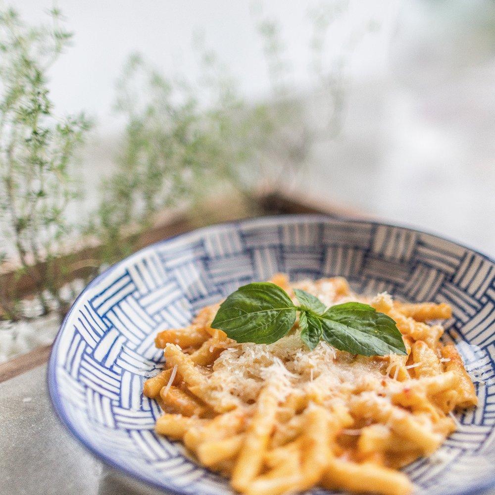 garganelli pasta with pesto della casa