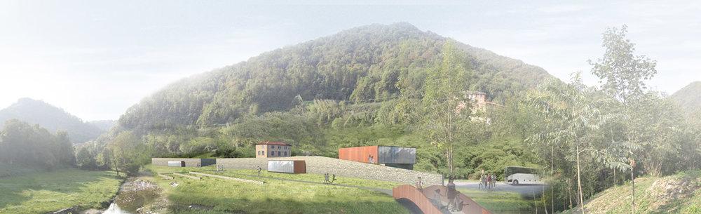 """Rendering del progetto con in primo piano il nuovo """"muro/argine"""" elemento ispiratore del progetto"""