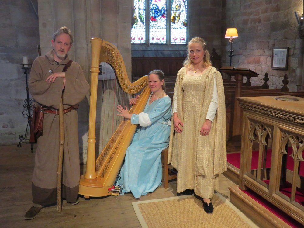 In costume at Crichton, with Isolde James-Griffiths (soprano) and her husband, story-teller Paul James-Griffith (as Saint Cuthbert)