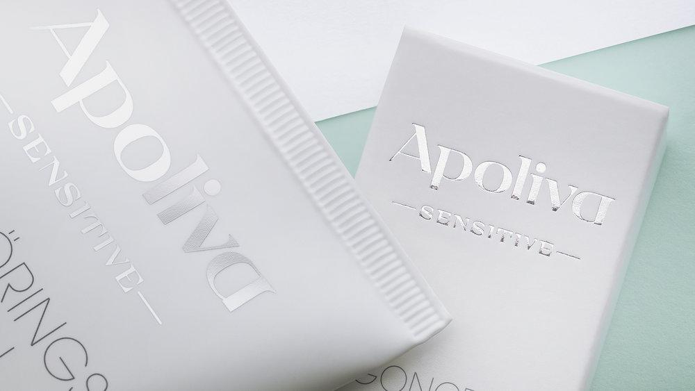 Apoliva omgörning. Ny unik ordbild och typografi. Prisvärd design.