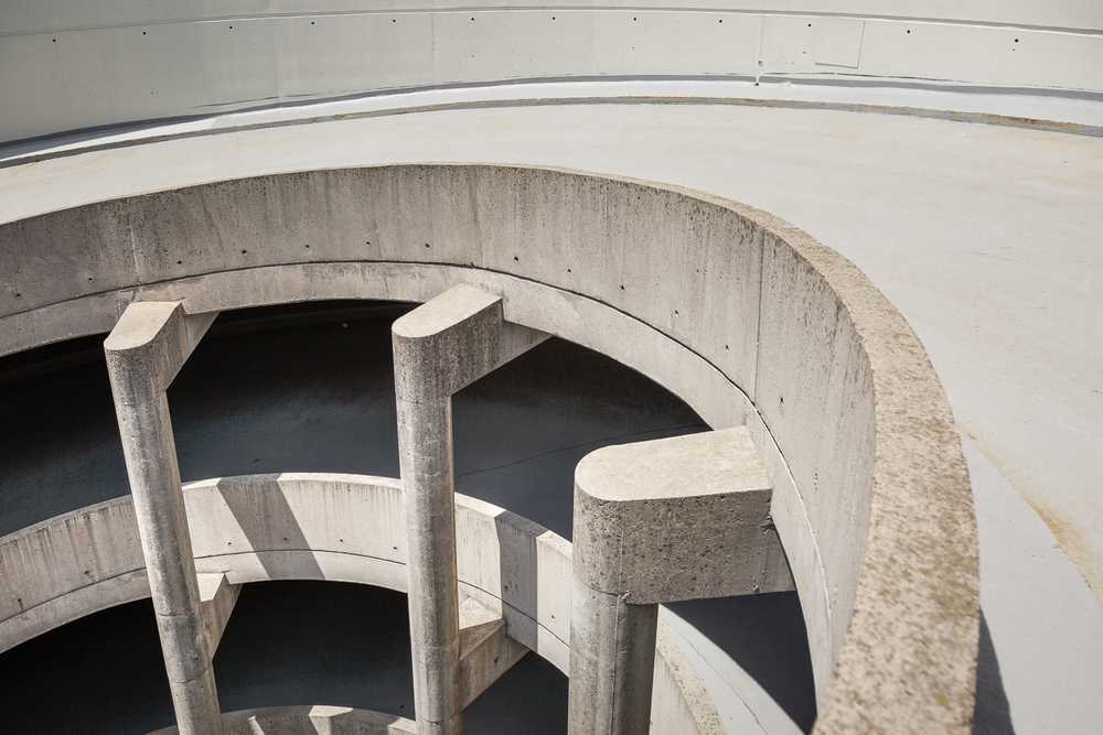 A view from the top. The spiral is so large it's can easy disorient you when looking down it. The ramp is 8 floors high.