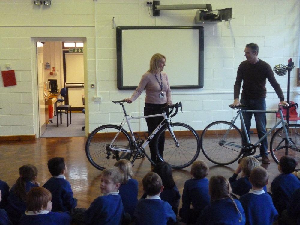 Mr McMahon showing his racing bikes.