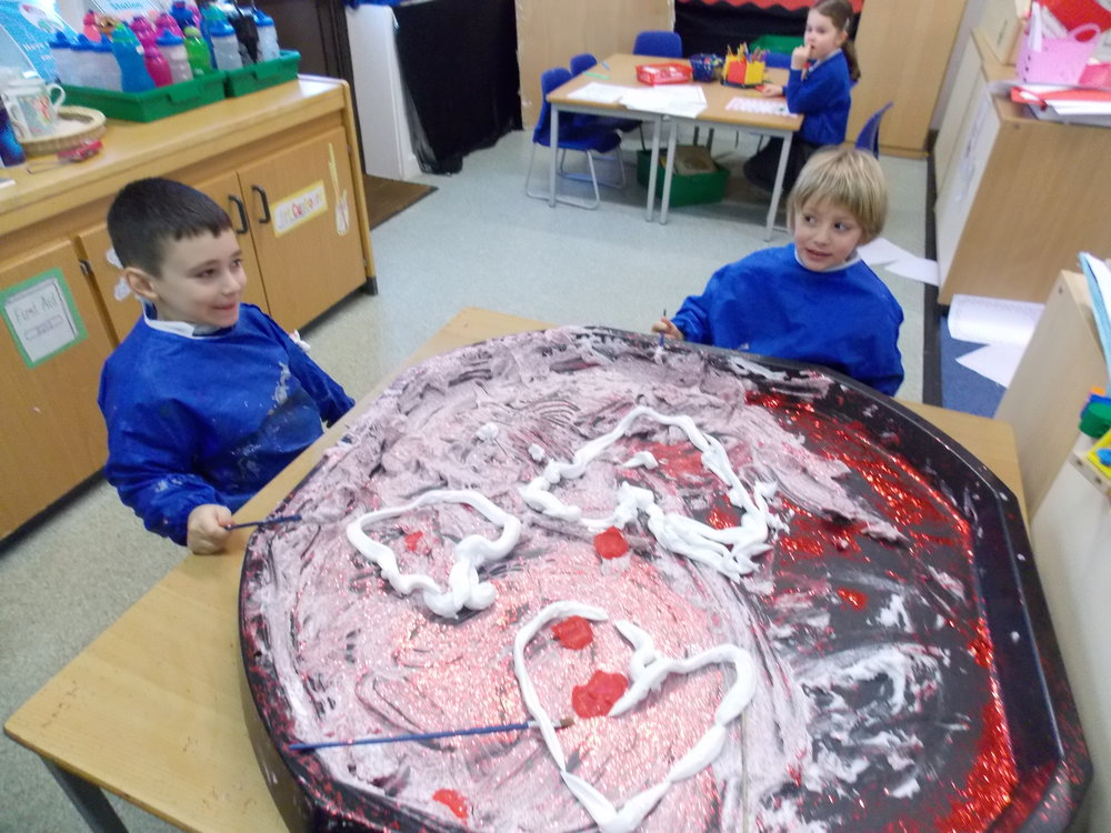 We used foam, glitter and paint.