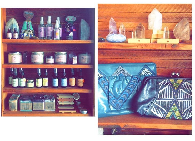 Our products sitting next to other beautiful goods! If you are in Long Beach, you must pay Native Sol a visit and check out all of their handmade, hand crafted items. <3