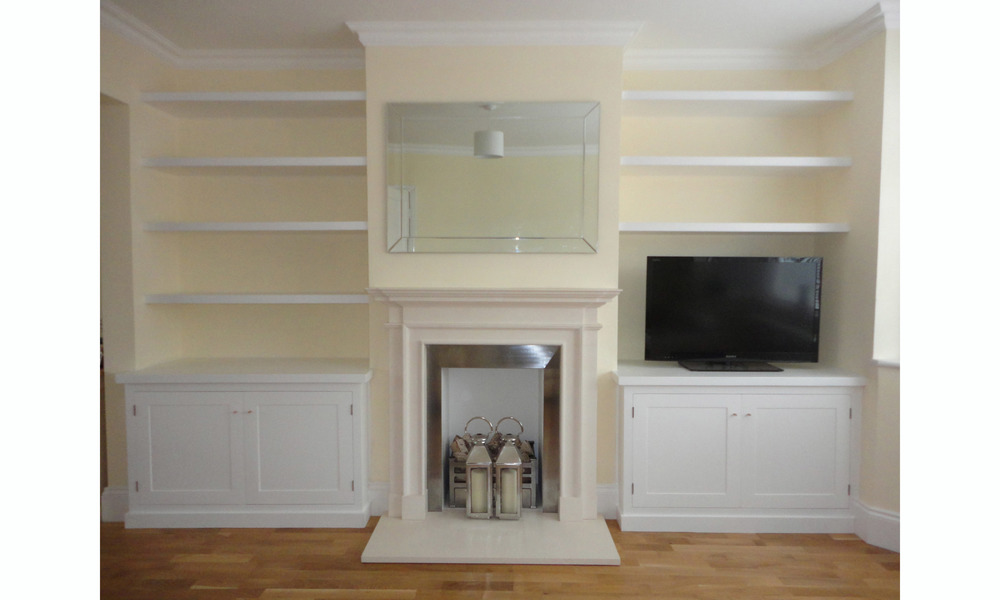 Alcove Floating Shelves and Cupboards