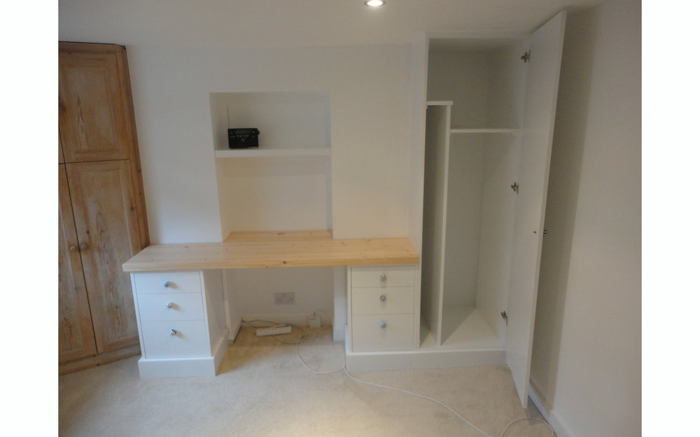 Basement Desk, Tall Storage Cupboard