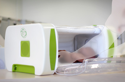 The mOm Incubator - mOm is a collapsible infant incubator that is being designed to provide a level of thermoregulation that meets the standards set for conventional incubators. In other words, it will provide a regulated environment that will keep babies warm as well as the incubators that you would find in well-equipped neonatal intensive care (NICU) wards.mOm is intended to be used in conjunction with Kangaroo Mother Care (or skin-to-skin) to help keep hypothermic babies warm.