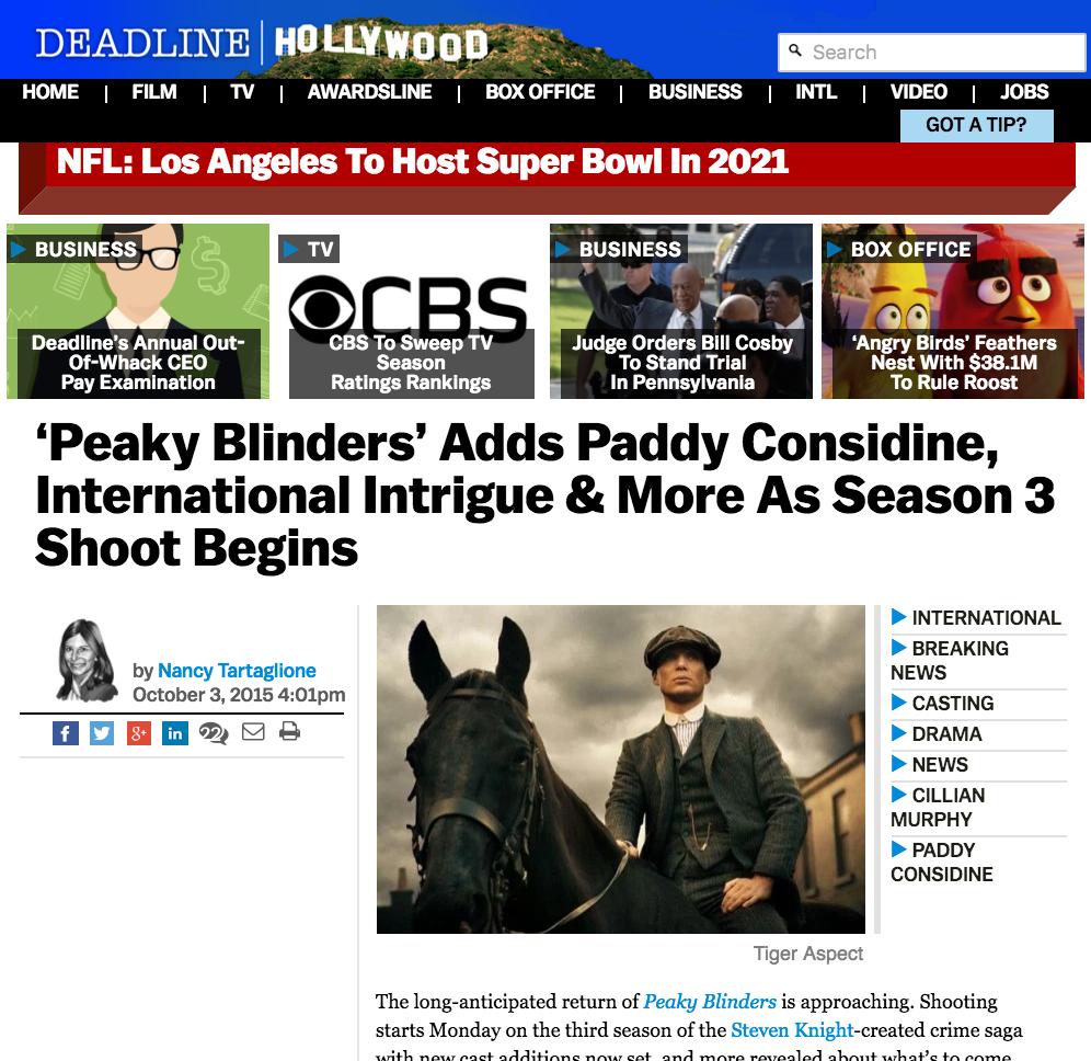 DEADLINE: Peaky Blinders