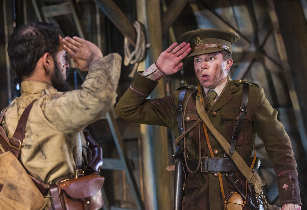 As Second Lieutenant Thomas Dixon-Wright in WIPERS. Simon Rivers (left).