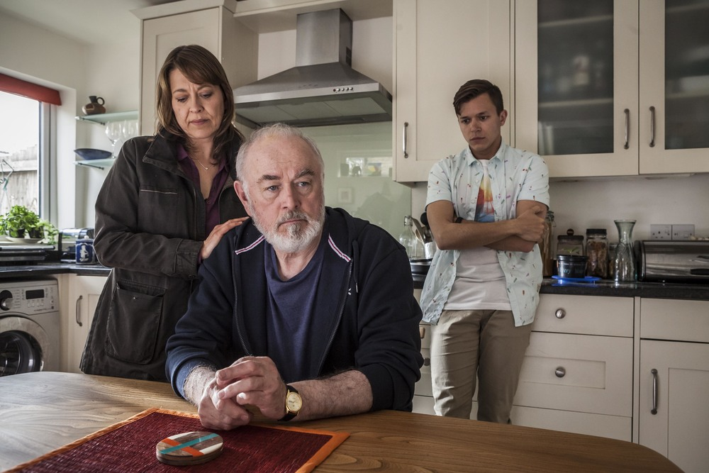 Jassa Ahluwalia as Adam Stuart in UNFORGOTTEN. Nicola Walker (left), Peter Egan (centre).