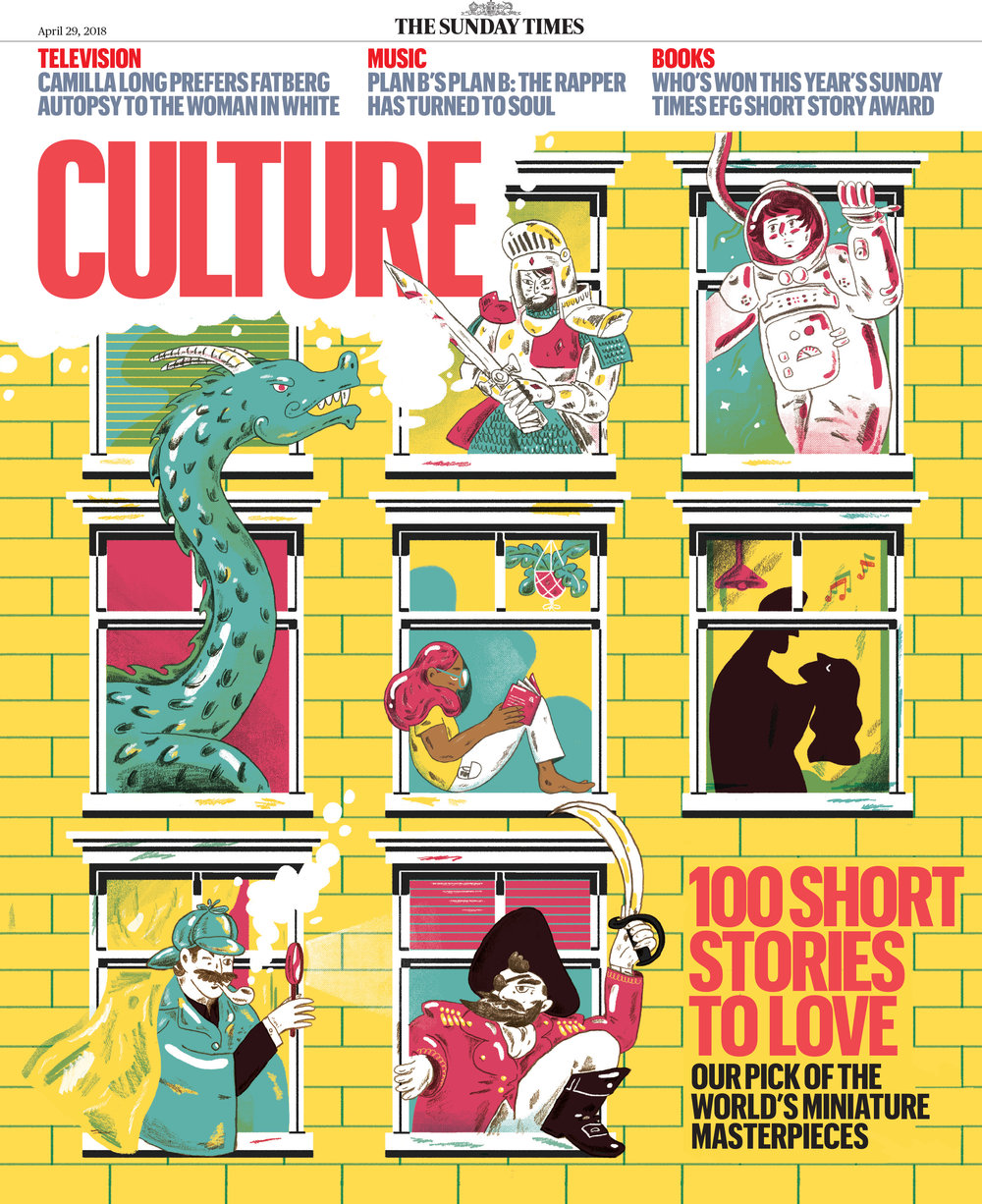 Cover for The Sunday Times Culture Magazine, for a 'Short Stories To Love' feature, 2018.