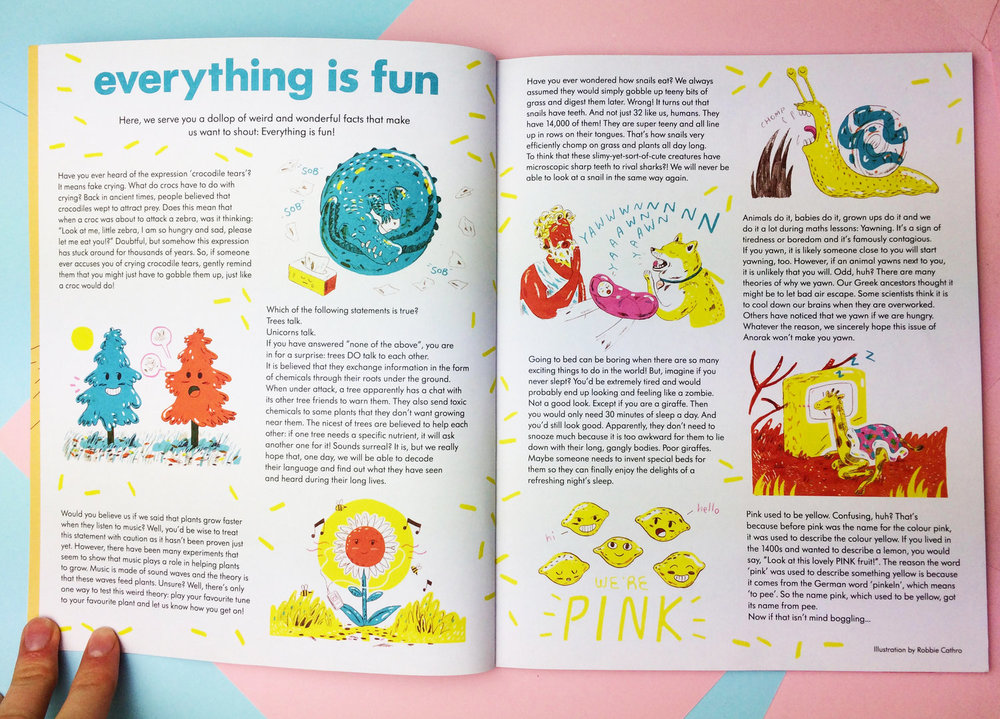 'Everything Is Fun!' Spread for Anorak Magazine, 2018.
