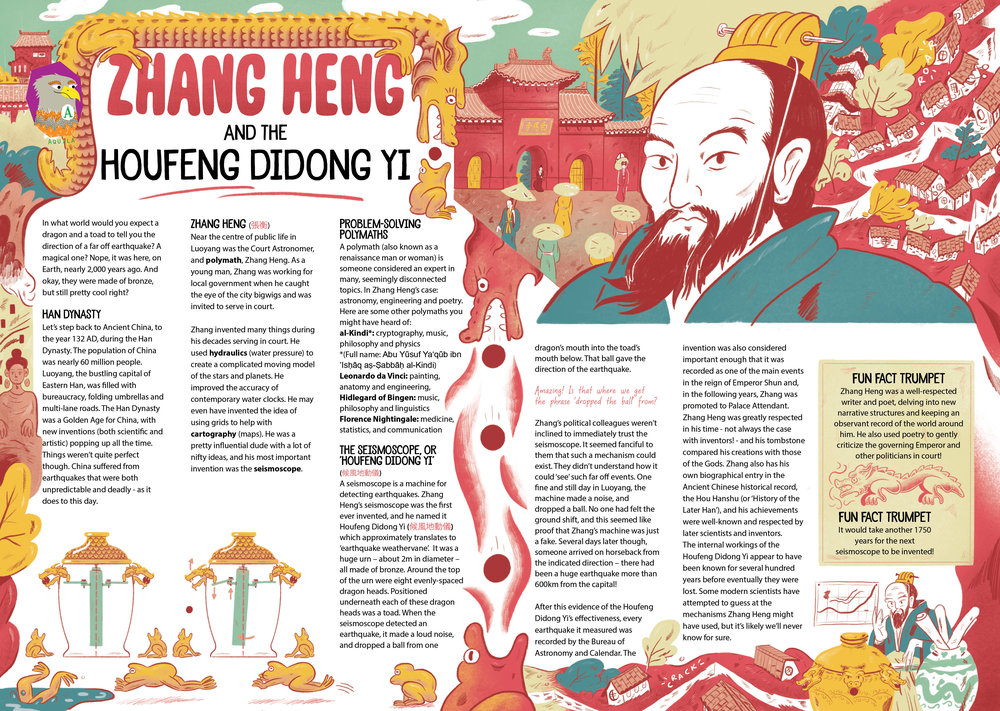 'Zhang Heng and the Houfeng Didong Yi' for Aquila Magazine's 'Super Volcano's' Issue. Jan 2019.
